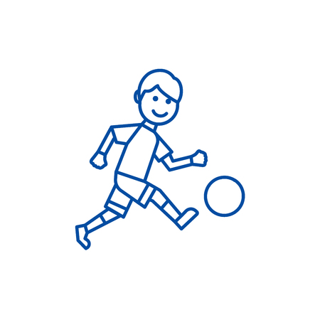 Soccer player line concept icon. Soccer player flat  vector website sign, outline symbol, illustration. Stock Vector - 119920840