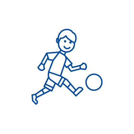 Soccer player line concept icon. Soccer player flat  vector website sign, outline symbol, illustration. Illustration