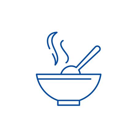 Soup line concept icon. Soup flat  vector website sign, outline symbol, illustration.