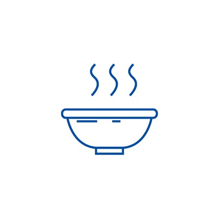 Soup bowl line concept icon. Soup bowl flat  vector website sign, outline symbol, illustration. Archivio Fotografico - 119920846