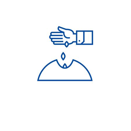 Sowing seeds hand line concept icon. Sowing seeds hand flat  vector website sign, outline symbol, illustration. Illustration