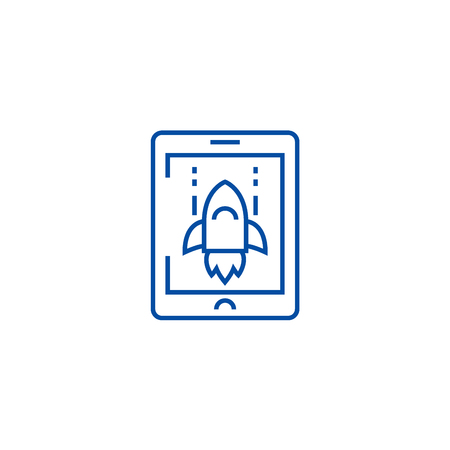 Space rocket computer game line concept icon. Space rocket computer game flat  vector website sign, outline symbol, illustration.