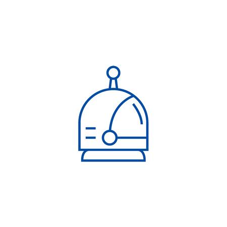 Spaceman head line concept icon. Spaceman head flat vector website sign, outline symbol, illustration. Vector Illustration