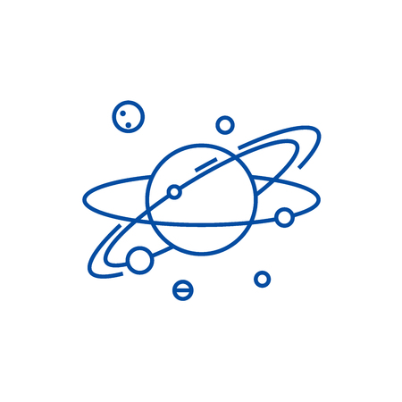 Solar  line concept icon. Solar  flat  vector website sign, outline symbol, illustration. Çizim