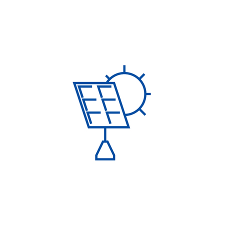 Solar battery line concept icon. Solar battery flat  vector website sign, outline symbol, illustration. Archivio Fotografico - 119920793