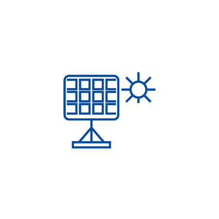 Solar panel line concept icon. Solar panel flat  vector website sign, outline symbol, illustration. 向量圖像