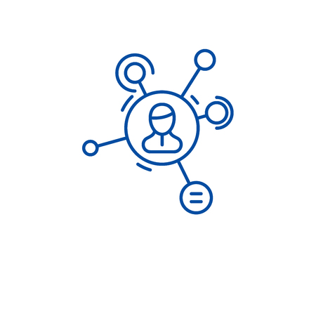 Social networking line concept icon. Social networking flat  vector website sign, outline symbol, illustration. Illustration