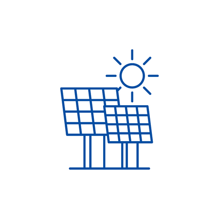 Solar power line concept icon. Solar power flat  vector website sign, outline symbol, illustration.