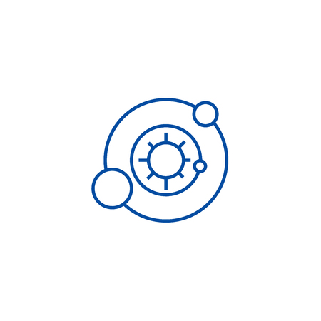 Solar system,astronomy line concept icon. Solar system,astronomy flat  vector website sign, outline symbol, illustration.