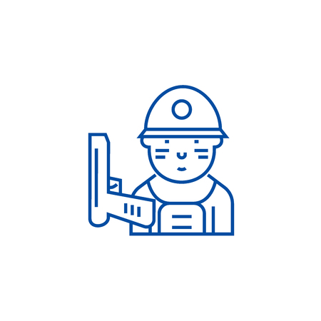 Soldier line concept icon. Soldier flat  vector website sign, outline symbol, illustration.