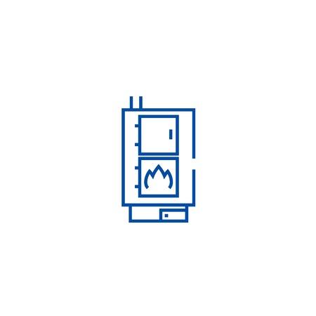 Solid fuel boiler,pellet stove line concept icon. Solid fuel boiler,pellet stove flat  vector website sign, outline symbol, illustration. Stock Illustratie