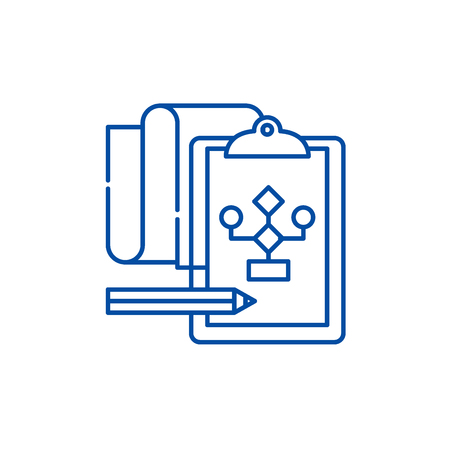 Solution of the problem line concept icon. Solution of the problem flat  vector website sign, outline symbol, illustration. Stockfoto - 119920722