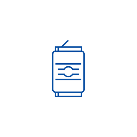 Soda can line concept icon. Soda can flat  vector website sign, outline symbol, illustration. 일러스트