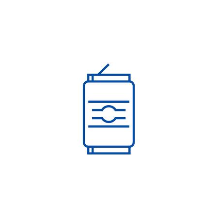 Soda can line concept icon. Soda can flat  vector website sign, outline symbol, illustration. Çizim