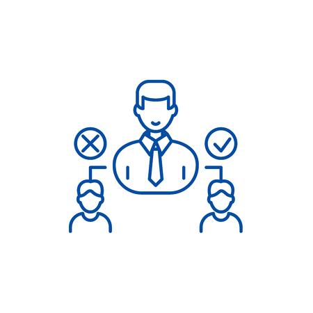 Social hierarchy line concept icon. Social hierarchy flat  vector website sign, outline symbol, illustration. Illustration