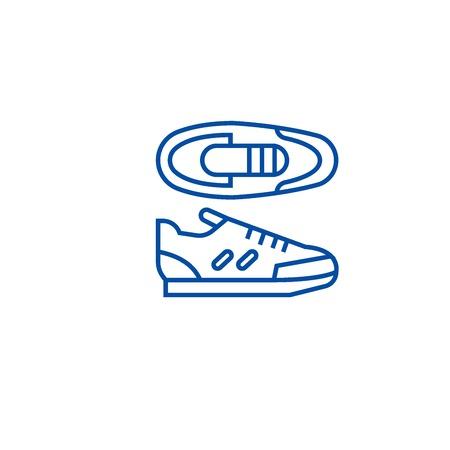 Sport sneakers line concept icon. Sport sneakers flat  vector website sign, outline symbol, illustration. Çizim