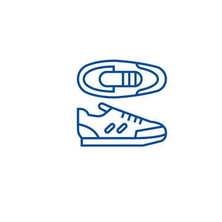 Sport sneakers line concept icon. Sport sneakers flat  vector website sign, outline symbol, illustration. Illustration