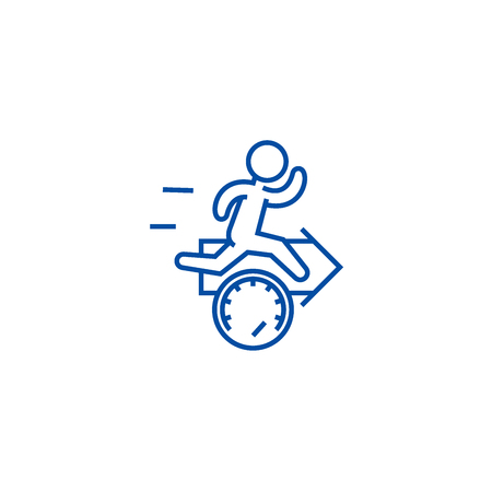 Speed, effiecency, running man with arrow line concept icon. Speed, effiecency, running man with arrow flat  vector website sign, outline symbol, illustration. Illustration