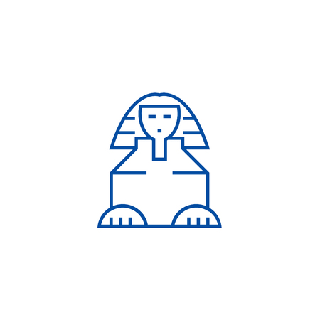 Sphinx line concept icon. Sphinx flat  vector website sign, outline symbol, illustration. Banque d'images - 119920649
