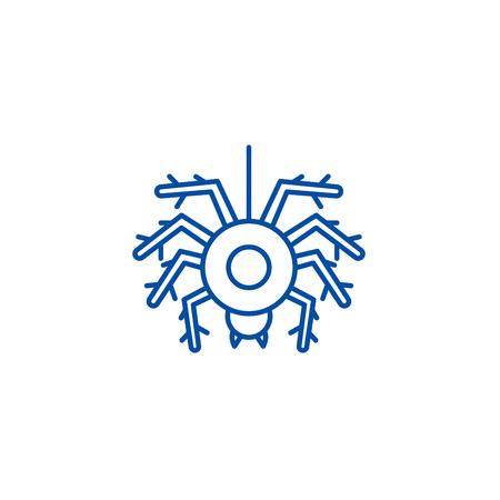 Spider line concept icon. Spider flat  vector website sign, outline symbol, illustration.