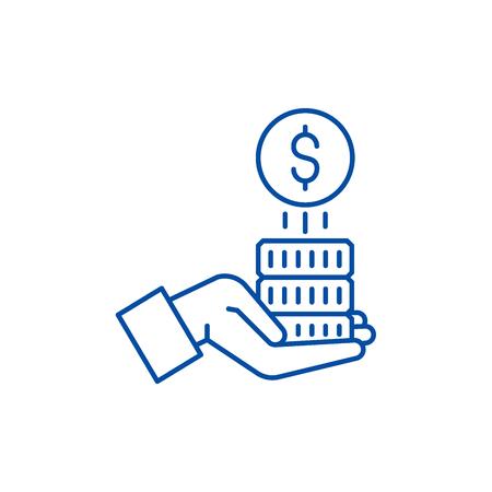 Sponsorship money line concept icon. Sponsorship money flat  vector website sign, outline symbol, illustration. Illustration