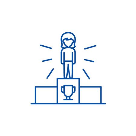 Sport champion line concept icon. Sport champion flat  vector website sign, outline symbol, illustration. Stock Illustratie