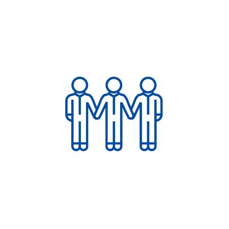 Social community,bonds line concept icon. Social community,bonds flat vector website sign, outline symbol, illustration.