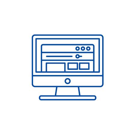 Software line concept icon. Software flat  vector website sign, outline symbol, illustration. 일러스트
