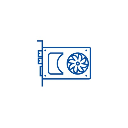 Sound card,video card line concept icon. Sound card,video card flat  vector website sign, outline symbol, illustration.