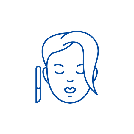 Spa treatments line concept icon. Spa treatments flat  vector website sign, outline symbol, illustration. 向量圖像