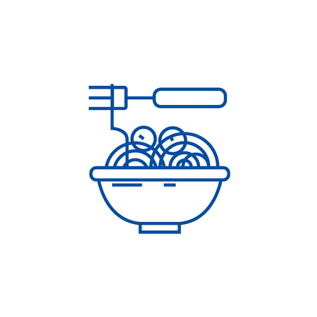 Spaghetti bolognese with meatballs line concept icon. Spaghetti bolognese with meatballs flat  vector website sign, outline symbol, illustration.