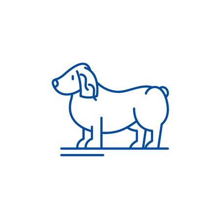 Spaniel line concept icon. Spaniel flat  vector website sign, outline symbol, illustration. Illustration