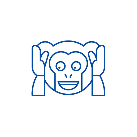 Speak no evil emoji line concept icon. Speak no evil emoji flat  vector website sign, outline symbol, illustration. Illusztráció