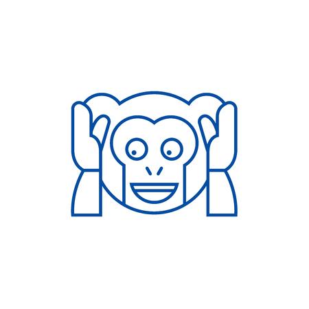 Speak no evil emoji line concept icon. Speak no evil emoji flat  vector website sign, outline symbol, illustration. Illustration