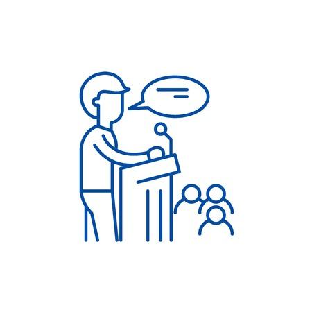 Speaker line concept icon. Speaker flat  vector website sign, outline symbol, illustration.