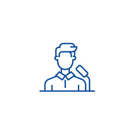 Speaker,business presentation line concept icon. Speaker,business presentation flat  vector website sign, outline symbol, illustration.