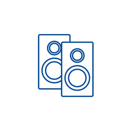 Speakers line concept icon. Speakers flat  vector website sign, outline symbol, illustration.
