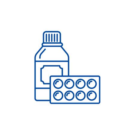 Sport supplements line concept icon. Sport supplements flat  vector website sign, outline symbol, illustration.