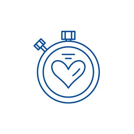Sport timer line concept icon. Sport timer flat  vector website sign, outline symbol, illustration.