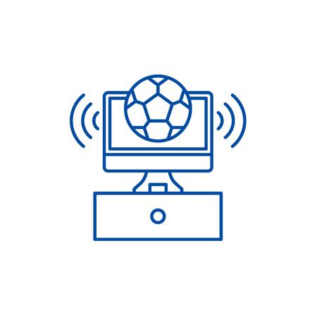 Sports broadcast line concept icon. Sports broadcast flat  vector website sign, outline symbol, illustration.