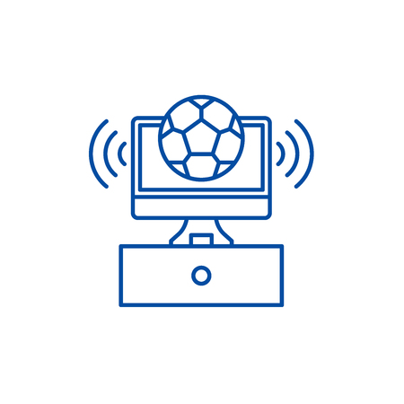 Sports broadcast line concept icon. Sports broadcast flat  vector website sign, outline symbol, illustration.
