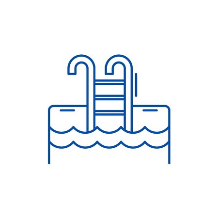 Sports pool line concept icon. Sports pool flat  vector website sign, outline symbol, illustration.