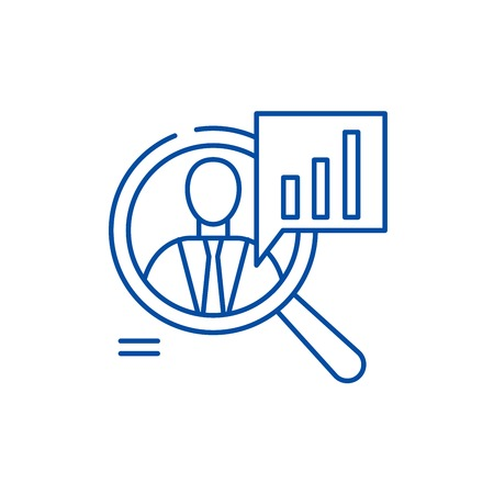 Staff performance line concept icon. Staff performance flat  vector website sign, outline symbol, illustration. 向量圖像