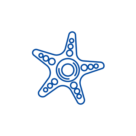 Starfish line concept icon. Starfish flat  vector website sign, outline symbol, illustration.