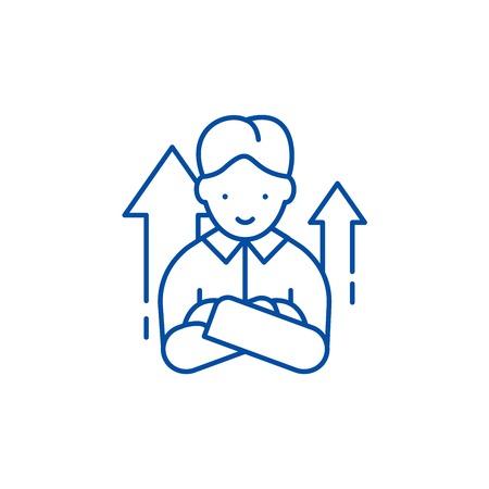 Starter line concept icon. Starter flat  vector website sign, outline symbol, illustration.