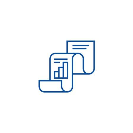 Statistical report,statistics line concept icon. Statistical report,statistics flat  vector website sign, outline symbol, illustration.
