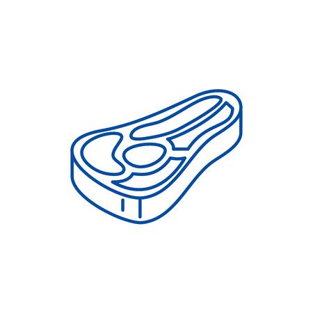 Steak line concept icon. Steak flat  vector website sign, outline symbol, illustration.