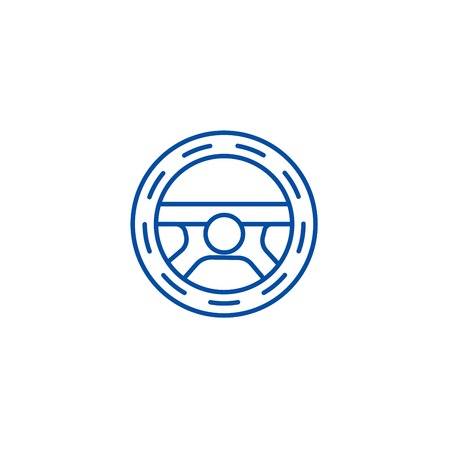 Steering wheel,driving line concept icon. Steering wheel,driving flat  vector website sign, outline symbol, illustration. Illustration
