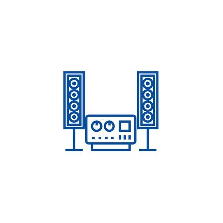 Stéréo, son, icône de concept de ligne de système hi fi. Stéréo, son, chaîne hi-fi télévision vector signe site Web, symbole du contour, illustration.