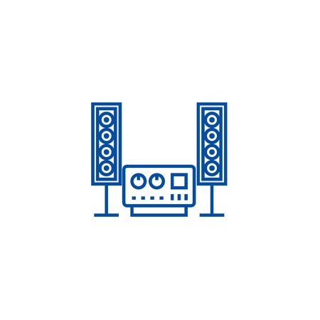 Stereo, sound, hi fi system line concept icon. Stereo, sound, hi fi system flat  vector website sign, outline symbol, illustration.